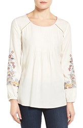 Caslonr Women's Caslon Embroidered Pintuck Pleat Peasant Blouse Ivory Palm Embroidery