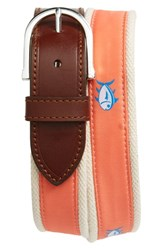 Men's Southern Tide 'Skipjack' Leather And Canvas Belt Nautical Orange
