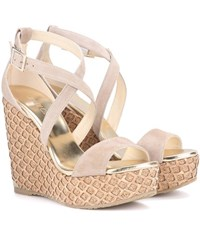 Jimmy Choo Portia 120 Suede Wedge Sandals Beige