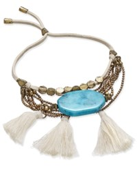 Macy's Gold Tone White Corded And Tassel Turquoise Look Stone Multi Chain Bracelet