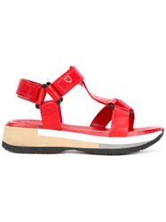 Philippe Model Low Platform Sandals Women Leather Rubber 38 Red