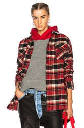 Fear Of God Oversized Flannel Button Down Shirt In Checkered And Plaid Red Checkered And Plaid Red