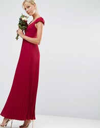 Asos Wedding Lace And Pleat Maxi Dress Wine Red