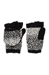 Plush Ombre Dot Texting Mittens Black And White