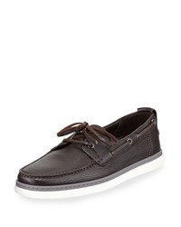 Leather Boat Shoe Dark Brown Ermenegildo Zegna Blue