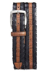 Torino Belts Men's Big And Tall Croc Embossed Leather Belt Black Cognac