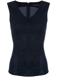 Drome Lambskin Fitted Top Blue