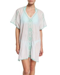 Letarte Mystique Embroidered Caftan Coverup Seafoam