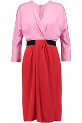 Vionnet Color Block Stretch Silk Dress Pink