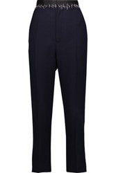 Haider Ackermann Satin Trimmed Crepe Tapered Pants Midnight Blue