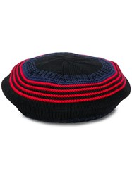 Sonia Rykiel Striped Knit Beanie Black
