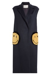 Anya Hindmarch Smiley Virgin Wool Gilet With Mink Fur Blue