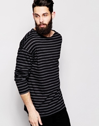 Asos Oversized Long Sleeve T Shirt With Stripe And Boat Neck Blackcharcoalmarl