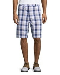 Callaway Plaid Flat Front Tech Shorts Bright White Blue