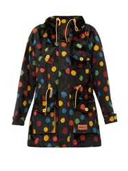 M Missoni Polka Dot Upcycled Cotton Velvet Hooded Parka Black Multi