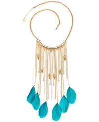 Guess Gold Tone Blue Feather And Crystal Fringe Statement Necklace