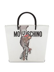Moschino Graphic Faux Leather Shopping Bag White