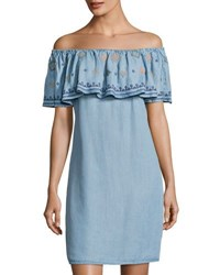 Neiman Marcus Embroidered Ruffle Off The Shoulder Dress Blue