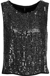 W118 By Walter Baker Finn Sequined Georgette Top Black