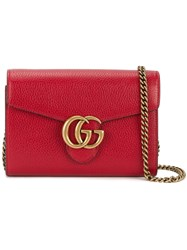 Gucci Gg Marmont Shoulder Bag Women Leather Metal One Size Red