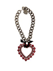 Lanvin Crystal Embellished Heart Pendant Necklace Red
