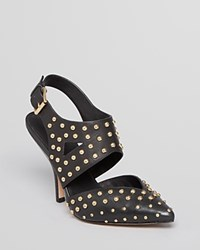 Isa Tapia Pointed Toe Pumps Dez High Heel Black Gold Studs