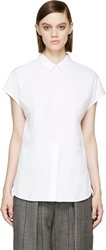 3.1 Phillip Lim White Cotton Cap Sleeve Collared Blouse