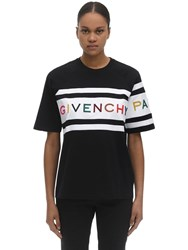 Givenchy Logo Embroidery Cotton Jersey T Shirt Black