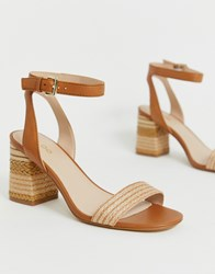 Aldo Gweilian Woven Block Heeled Sandals In Tan Tan