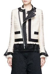 Sacai Guipure Lace Frayed Summer Tweed Jacket White
