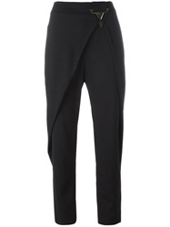 Versace Jeans Folded Front Cropped Trousers Black