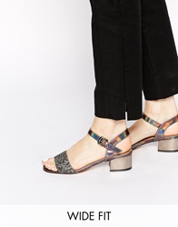 New Look Wide Fit Sheen Glitter Mid Heeled Sandals Silver