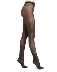 Wolford Rhoda Zigzag Patterned Tights Black