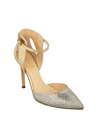 Ivanka Trump Geess 2 Metallic Fabric Stilettos Silver Gold