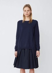 Aspesi Lightweight Cotton Blend Crewneck Sweater Navy