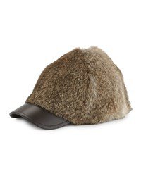 Adrienne Landau Goma Rabbit Baseball Cap Natural Brown