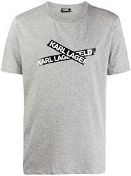 Karl Lagerfeld Logo Construction Tape T Shirt Grey