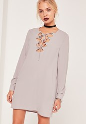 Missguided Scallop Front Lace Up Shift Dress Grey