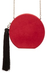 Natasha Couture Round Tassel Clutch Red