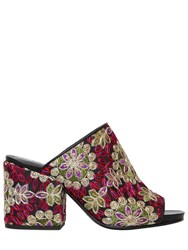Strategia 70Mm Embroidered Satin And Leather Mules
