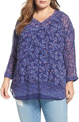 Daniel Rainn Plus Size Women's Floral Print Peasant Blouse