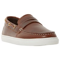 Bertie Bourbon Leather Boat Shoes Brown