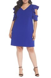 Chelsea 28 Plus Size Women's Chelsea28 Ruffle Cold Shoulder Shift Dress Blue Surf