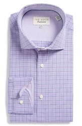 Ted Baker Men's Big And Tall London Spinel Trim Fit Check Dress Shirt Purple