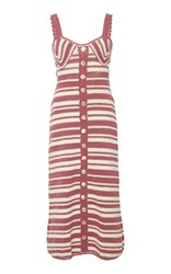 She Made Me Daisy Balconette Cotton Midi Dress Stripe