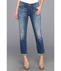 7 For All Mankind Josefina W Rolled Hem In Bright Light Broken Twill Bright Light Broken Twill Women's Jeans Blue
