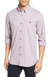 Ted Baker Men's London Forray Extra Trim Fit Diamond Dobby Roll Sleeve Sport Shirt Red