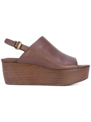 See By Chloe Stacked Wedge Sandals Women Calf Leather Leather Rubber 36 Brown