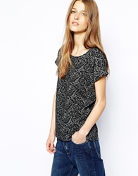 Minimum Asha Floral Patterned T Shirt Black