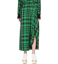 Stella Mccartney Tartan Asymmetrical Satin Skirt Sprint Green